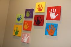 canvas hand print each year of the kids cute idea for playroom or bedroom