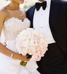 """fun fact - it took over forty (40!) pristine blush + cream peonies to create p's bridal bouquet. while we will always love to create lush and overflowing…"""