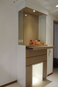 Plaster Ceiling & Partition Drywall Singapore: The Caspian at Lakeside Living Room Partition Design, Pooja Room Door Design, Room Partition Designs, Temple Design For Home, Altar Design, Hall Design, Mandir Design, Puja Room, Room Doors