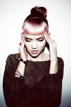 a95b5552601 I m rocking this Grimes look today  pink hair in a top knot with bangs.