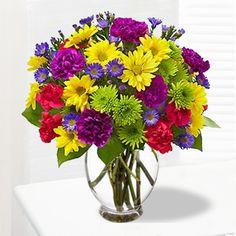 Floral bouquet/arrangement with bouquet with mini #carnations, #daisy poms…