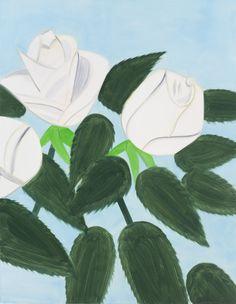Alex Katz, White Roses 6, Oil on linen (2012)