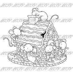 Lotv Digi Stamp KG Gingerbread Mice Jpg Christmas | Etsy Digi Stamps, Line Art Images, Black And White Lines, Gingerbread, Christmas Cards, Lily, Fun, Fictional Characters, Creative Crafts