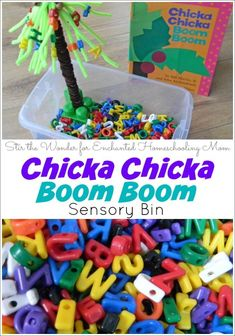 I just bought these exact letters! I can't wait to do this activity with my kiddos! This hands-on Chicka Chicka Boom Boom sensory alphabet adventure helps to reinforce letter recognition a breeze! Kindergarten Literacy, Preschool Classroom, Toddler Preschool, Toddler Activities, Classroom Ideas, Preschool Ideas, Preschool Books, Sensory Activities For Preschoolers, Early Literacy