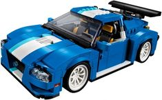 Turbo pretekárske auto Lego Creator, The Creator, White Rims, Racing Seats, Building Blocks Toys, Blue Color Schemes, Roll Cage, Racing Stripes, Light Blue Color
