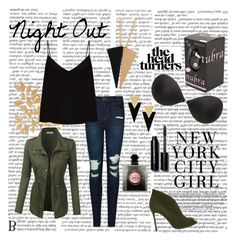 Night Out by mynubra on Polyvore featuring Raey, LE3NO, J Brand, Gianvito Rossi, Yves Saint Laurent, Natasha Accessories and Bobbi Brown Cosmetics