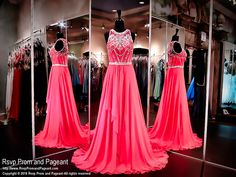 Shine brilliantly in this fabulous hot pink chiffon gown with its intricate beaded bodice embellished with sparkling crystals. Just stunning and it's at Rsvp Prom and Pageant, your source for the HOTTEST Prom and Pageant Dresses!