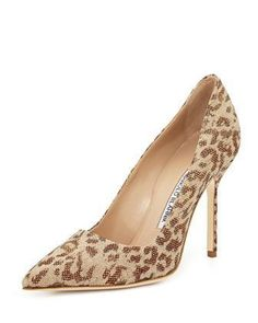 BB Fabric 105mm Pump, Leopard (Made to Order) by Manolo Blahnik at Bergdorf Goodman.