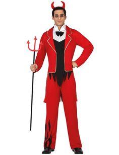 Disfraz diablo hombre: Este disfraz de diablo para hombre está formado por un pantalón, una túnica con redingote y una diadema (tridente y zapatos no incluidos).El pantalón es de color rojo y...