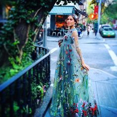 Alexa Chung in a tulle hand-embroidered Valentino gown.