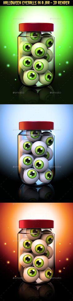 Halloween Eyeballs in a Jar 3D Rendered Illustration. Format JPG   PNG 15002000px 300ppi.