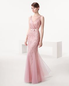 Blush beaded wedding gown with belt // Rose Quartz-hued wedding dresses inspired by 2016's Pantone Color of the Year
