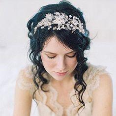 Clearine Damen Böhmisch Boho Künstliche Perlen Cluster Blume Romantik Hochzeit Braut Diademe Haarschmuck
