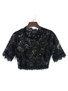 Black Tasseled Trims Sequin Sheer Lace Crop Top