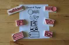 Sets de tampons, Kit Voyage - Tampons Carnet Voyage Travel Book est une création orginale de Mimo-Creations sur DaWanda  Boutique: http://fr.dawanda.com/shop/Mimo-Creations Blog: http://carnetdedouceurs.fr Tampon - gravé main - Hand carved - rubber Stamp