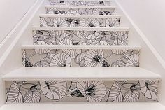 Wallpaper on stair risers, I love ideas like this, but also always feel a bit miffed that I didn't come up with it on my own!