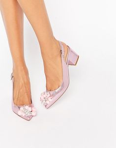 Image 1 of ASOS SHIMMER Embellished Pointed Heels
