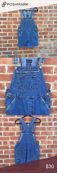90s Overalls Adorable overalls with tribal/ floral embroidery. Lots of pockets! Belt loops and side buttons, and adjustable straps. Medium in Juniors but fits like a Small Women's. I wore them with the legs rolled up because I have a more shapely bum and it looked better that way. I think this would look great on someone a bit smaller than me! Pants Jumpsuits & Rompers