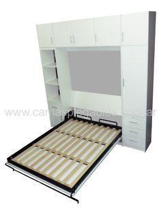 Mueble placard con cama rebatible para 1 y 2 plazas módulos laterales y bauleras.