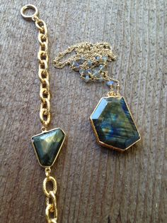 Gold edged labradorite stone with wire wrapped by joydravecky, $94.00