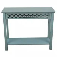 Decor Therapy 38 in. Antique Iced Blue Standard Rectangle Mirrored Console Table with Storage-FR6365 - The Home Depot Modern Sofa Table, Modern Console Tables, Sofa End Tables, Rustic Entryway, Entryway Decor, Assemblage, 5 W, Wood Accents, Rustic Table