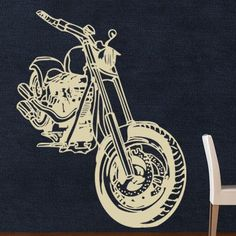 "Style and Apply Motorcycle Wall Decal Color: Yellow, Size: 30"" H x 24"" W"