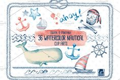 Watercolor Nautical Clip Arts by JSquarePresents on @creativemarket