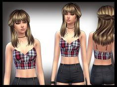 Checked crop Bralet by shanelle.sims at TSR via Sims 4 Updates