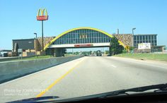 """Driving westbound on I-44 (Will Rogers Turnpike), getting ready to drive underneath the McDonalds.  At one point, this was considered the """"World's Largest McDonalds.""""  This is near Vinita, Oklahoma, and is supposed to be the halfway point between Tulsa and Joplin on I-44.  There is some interesting facts on this structure on Wikipedia:  en.wikipedia.org/wiki/Vinita,_Oklahoma_McDonald's  Tuesday morning 17 May 2005"""