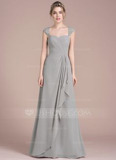 [US$ 128.99] A-Line/Princess Floor-Length Chiffon Lace Bridesmaid Dress With Cascading Ruffles