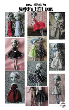 Monster High Doll Clothing Patterns for Dresses Monster Dolls, Monster High Doll Clothes, Custom Monster High Dolls, Doll Dress Patterns, Clothing Patterns, Monster High Kleidung, Manequin, Monster High Party, Little Doll