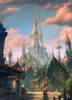 cinemagorgeous: Fantasy art by Korean artist Sanghyun Kam. Fantasy City, World Of Fantasy, Fantasy Castle, Fantasy Places, Medieval Fantasy, Fantasy Concept Art, Fantasy Artwork, Landscape Concept, Landscape Art