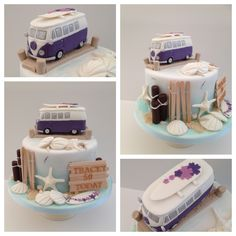 VW Camper and Beach themed birthday cake