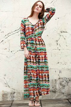 Print V Neck Long Sleeve Maxi Dress RED AND GREEN: Maxi Dresses | ZAFUL