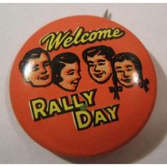 ビンテージTIN缶バッチ「Welcome Rally Day」 |FIRE KING & AMERICAN ZAKKA