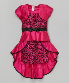 Look what I found on #zulily! Pink Leopard Bow Dress & Bolero - Toddler & Girls by Just Kids #zulilyfinds