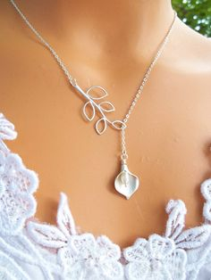 Wedding Jewelry, Calla Lily Lariat, Bridesmaid Gifts, Bridesmaids Necklace, Wedding Necklace, STERLING SILVER CHAIN