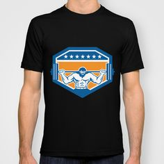Bodybuilder Lifting Barbell Shield Retro T-shirt