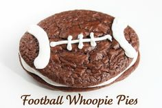 Football Whoopie Pies- Created by Diane Just Desserts, Delicious Desserts, Yummy Food, Fun Food, Yummy Treats, Sweet Treats, Cookie Recipes, Dessert Recipes, Party Recipes