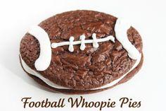 Football Brownie  Whoopie Pies. Fun Game Day Food @createdbydiane #football #superbowl