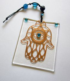 Hamsa Wall Hanging, Hamsa Glass with Evil Eye Decor, Hamsa Ornament, Copper and Turquoise, with Blue and Turquoise Glass Beads on Etsy, US$18,00