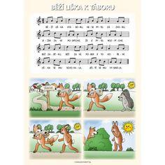 Tematický obraz: Zazpívej písničku: Běží liška k Táboru Vive Le Vent, Partition, Ukulele, Piano, Disney Characters, Fictional Characters, Preschool, Language, Exercise