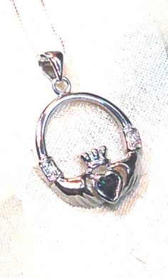 20% SALE Green Topaz Claddagh Necklace by NorthCoastCottage