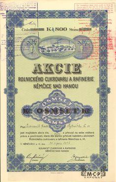 B337 / Muzeum cennych papiru / Rolnický cukrovar a rafinerie Němčice nad Hanou akcie na jméno (Namensaktie) 800 Kč, Němčice na Hané 31.8.1935 / AZP3CZ151 Stocks And Bonds, Retro Vector, Card Templates, Vector Design, Vintage World Maps, Sugar, Cards, Card Designs, Map