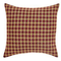 Burgundy Check Pillow Fabric 16x16