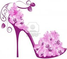 Illustration of Vector illustration of orchids high heel. Shoes decorated with orchids vector art, clipart and stock vectors. Flower Shoes, Beauty Illustration, Patchwork Bags, Shoe Art, Cute Images, Birthday Cake Toppers, Beautiful Shoes, Me Too Shoes, Orchids