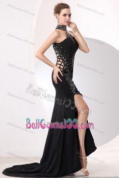 High-neck Lovely Black Taffeta Mermaid Beaded Military Ball Gown
