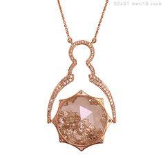 18k Rose Gold NECKLACE Gemstone Shaker Pendant Diamond Pave Baguette Jewelry #Handmade