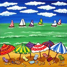 Whimsical Beach Scene Umbrellas Sailboats Fun Colorful Folk Art Painting renie on Etsy, $89.99