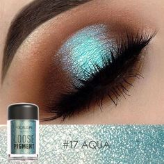 Glitter Loose Powder Eye shadow Type: Loose Powder Eyeshadow Effect: Glitter/shimmer 18 colors Use: Eye NET WT: Ingredient: Mineral Quantity: - # - Eyeshadow Looks, Eyeshadow Makeup, Makeup Cosmetics, Makeup Brushes, Pigment Eyeshadow, Blue Eyeshadow, Turquoise Eyeshadow, Eyebrow Makeup, Makeup Remover